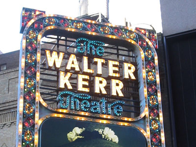 Marquee of the Walter Kerr Theatre, advertising Christine Ebersole in Grey Gardens 218 West 48th Street, Manhattan, New York